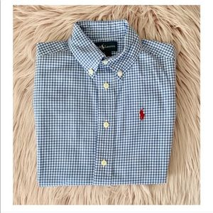Ralph Lauren Kids Dress Shirt Plaid Blue White